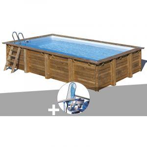 Sunbay Kit piscine bois Evora 6,00 x 4,00 x 1,33 m + Kit d'entretien