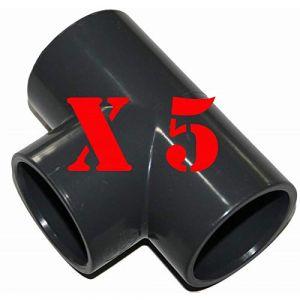 Jardiboutique Lot de 5 Tés à Coller PVC Pression diam 50 pour Connections Piscine