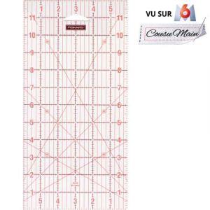 """Fiskars Règle Acrylique, Quadrillage en pouces uniquement 6"""" x 12"""", Idéale pour le patchwork, Formes variées, 1004744"""
