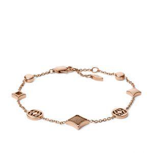 Fossil Bracelet JF03192791 - CLASSICS Doré Rose Maille Milanaise 21,6 cm Acier Femme