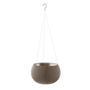 Curver Pot de fleur aspect tricot avec suspensions 28cm - Chocolat