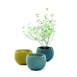 Curver Petits caches pots décoration 15cm - Bleu gris jaune