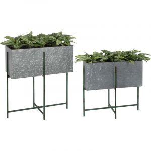 Esschert design Bac à fleurs rectangulaire sur pied en fer - Lot de 2 en différentes tailles