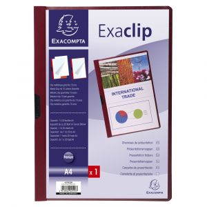 Exacompta 437823B - Chemise de présentation EXA-CLIP, format A4 dos 3mm, PVC, coloris bordeaux