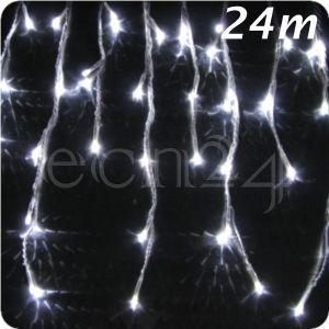 Guirlande LED effet chute de neige 24 m blanc froid