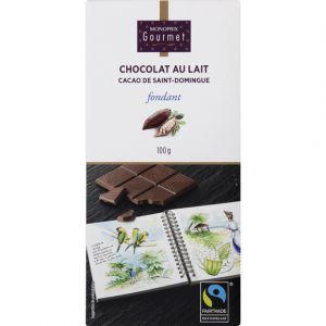 Monoprix gourmet Chocolat au lait fondant de Saint Domingue, Max Havelaar - La tablette de 100g