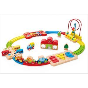 Hape E3826-Circuit de Train en Bois-Chemin de Fer Puzzle Arc-en-Ciel Circuits de Voitures, E3826, Multicolore, Taille Unique