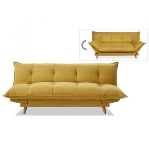 Blanrêve SOFTY Banquette convertible - Tissu jaune - Pieds bois clair - L 191 x P 50 x H 83 cm