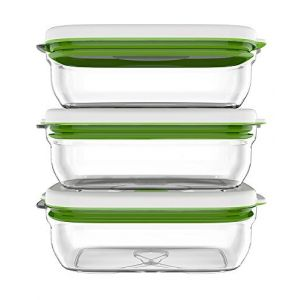 Fosa Trois récipients de mise sous vide alimentaire 1000 ml blanc et vert