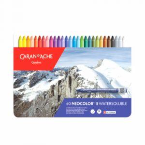 Caran d'Ache Neocolor II - Crayons Pastels cire soluble dans l'eau - Boîte de 40