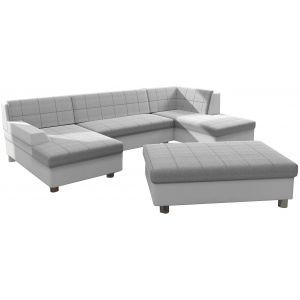 Comforium Canapé d'angle panoramique design avec méridienne gauche et pouf en tissu gris clair et cuir synthétique blanc