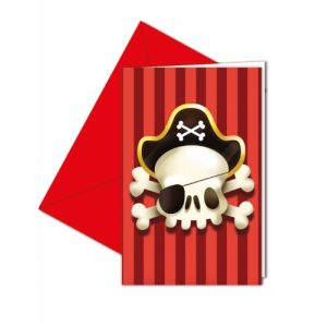 Lot 6 Invitations & Enveloppes Pirate Tête de Mort