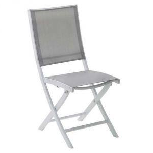Wilsa Whitestar - Chaise de jardin pliante en aluminium et textilène