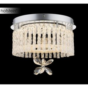 Globo Plafonnier LED en chrome, cristal et verre suspendu MATHILDA