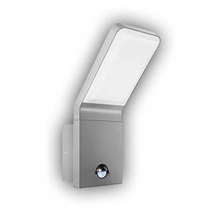 Gev LED Applique Murale Extérieure Nina avec détecteur de mouvement Angle de détection 90 ° Interrupteur crépusculaire, éclairage, IP 44, 570 lm, 3000 K, Blanc chaud, aluminium, 9,5 W, gris argenté, 16,5 x 10 x 25,6 cm