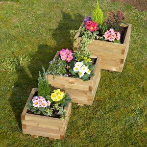 Cemonjardin Lot 3 jardinières carrée Primo