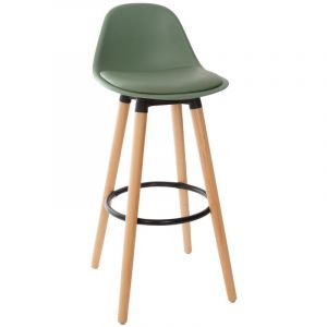 Atmosphera Tabouret de bar confortable kaki maxon H 92 cm