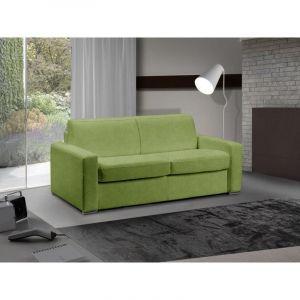 INSIDE Canapé lit 3-4 places MASTER convertible système RAPIDO 160 cm microfibre vert anis MATELAS 18 CM INCLUS.
