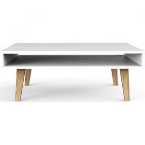 Conforama Table basse scandinave blanche double plateau