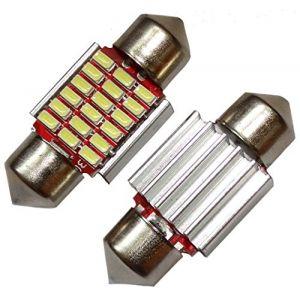 Aerzetix 2x ampoule veilleuses C5W 12V 18LED SMD blanc effet xénon 31mm éclairage intérieur plaque d'immatriculation seuils de porte plafonnier pieds lecteur de carte coffre compartiment moteur
