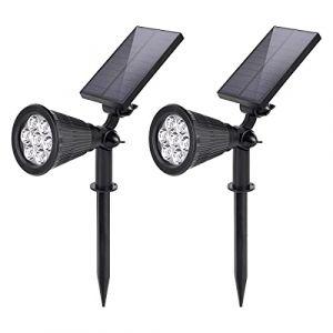 Salcar Spot Solaire Exterieur, 7 LED Lampe Solaire Exterieur Jardin, Etanche IP65 LED Solaire Projecteur avec 2 Modes d'Éclairage pour Jardin, Cour, Allée, Chemin, Trottoir, Terrasse, 2 Pack
