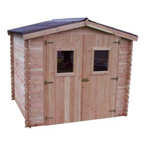 Habrita Abri DUBLIN Douglas madriers 28 mm sans plancher toit double pente 5,32 m²