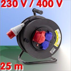 Dema Enrouleur câble éléctrique 25 m H07RN-F 5x2,5 mm2 Ø extérieur 14,5 mm
