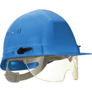 Taliaplast 564514 - Casque de chantier avec lunette escamotable bleu