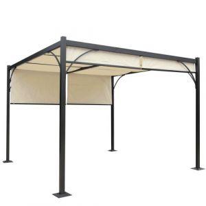 Mendler Pergola Granada, pavillon de jardin, cadre stable à 6 cm en alu + toit ouvrant 3x3m