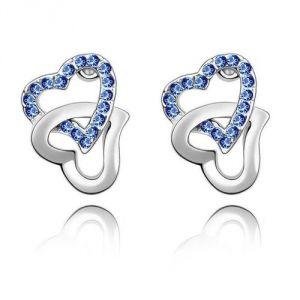 Blue Pearls Cry A322 G- Boucles d'oreilles Coeurs entrelacés avec Cristal de Swarovski