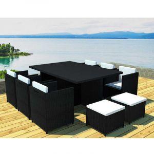 Salon de jardin résine noir 6 fauteuils encastrable