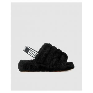 UGG australia Chaussons UGG Sandalo ciabatta Ugg Fluff Yeah in soffice pelle nera Noir - Taille 36,37,38,39,40,41