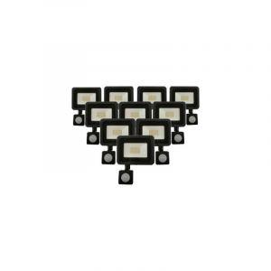 Silamp Projecteur LED Extérieur 20W IP65 NOIR avec Détecteur de Mouvement Crépusculaire (Pack de 10) - Blanc Neutre 4000K - 5500K