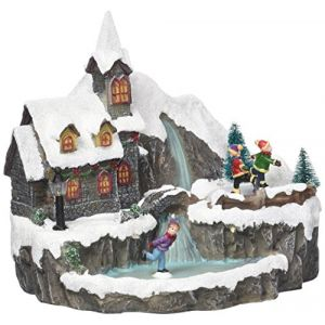 Home Village 5MAI511MC - Village animé cascade LED en résine/polyrésine multicolore 16 cm