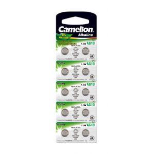 Camelion Pack de 10 piles Alcaline AG10 0% Mercury/Hg