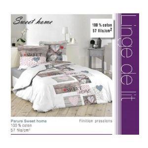 La Maison d'Amélie Sweet Home - Housse de couette et 2 taies 100% coton 57 fils (220 x 240 cm)