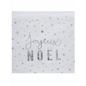 20 serviettes en papier Joyeux Noël argenté 25 x 25 cm