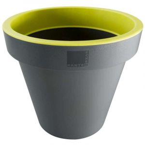 Provence Outillage Pot de fleurs rond Jaune / Gris Diamètre : 30 cm Hauteur : 26 cm - ECKEN KANTEN