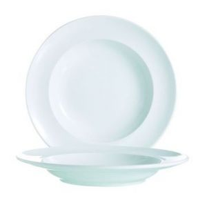 Arcoroc Assiette creuse ronde blanche 24cm - Vintage
