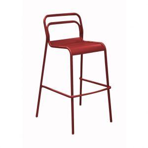 Chaise haute Oro rouge en aluminium 60 x 54 x 104 cm