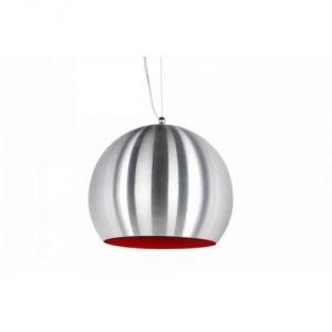 Kokoon Design Lampe rétro à suspendre en aluminium brossé et intérieur rouge Ø30 x 25 cm