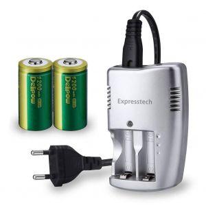 Expresstech @ CR123A Lithium Pile 3V 1200mAh Rechargeable piles 2Pcs & Batteries Chargeur pour Lampe de poche Appareil numérique de photo Caméscope Jouets Torche Microphones Caméra Vidéo