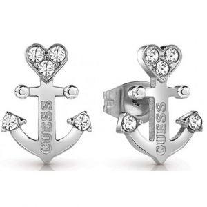 Guess : Boucles d'oreilles UBE85000 - Boucles d'oreilles Talisman Puces Acier Ancre Et Cristaux Femme