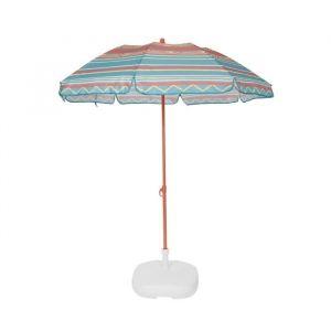 EZPELETA Parasol de plage Fold - Ø 180 cm - Rayé vert Socle non inclus
