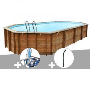 Sunbay Kit piscine bois Sevilla 8,72 x 4,72 x 1,46 m + Kit d'entretien + Douche