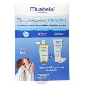 Mustela Stelatopia - Huile de bain lactée 200 ml + baume relipidant 200 ml