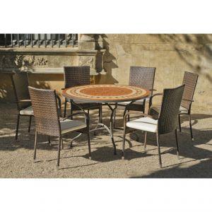 Hévéa Lorny/Bergamo - Table de jardin ronde 120 cm et 6 fauteuils avec coussins