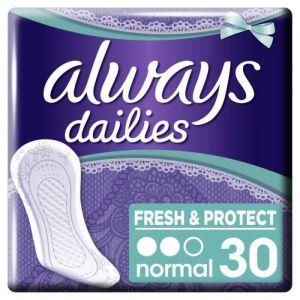 Always Protège-slips normal Neutralise les odeurs, sensation de fraicheur - Le paquet de 24