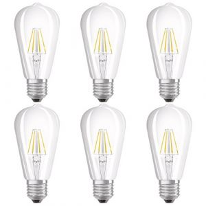 Osram Ampoule LED Filament, Forme Edison, Culot E27, 6W Equivalent 60W, 220-240V, claire, Blanc Chaud 2700K, Lot de 6 pièces