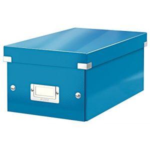 Leitz 6042-00-36 - Boîte de rangement Click & Store, format DVD, en PP, coloris bleu métallique